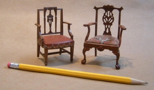 These two chairs i've carved, side by sidetake up roughly the same amount of space as Dan's painting of the Mandrill above. Collection of WTW. The chair to the viewer's right is 1974, carved while Dan was still alive. The chair to the left is 1987, after I'd had two sets of eye surgery on each eye.
