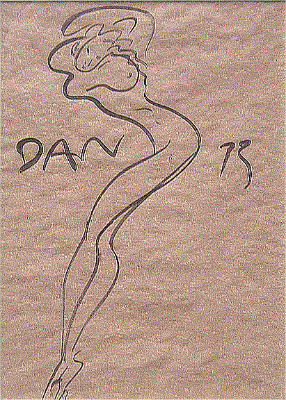 Dan Allen, a very fluid ink sketch that only took moments, but it's not the sort of thing just anyone can do. 1973, collection of WTW.