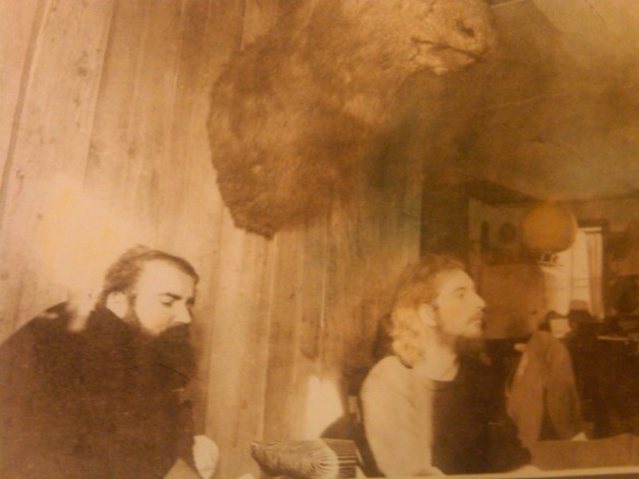 Photo of fellow painter, Ramon Martinez (deceased) sitting at a table in Vermont with Danny Allen. Photo by Eva Weiss.