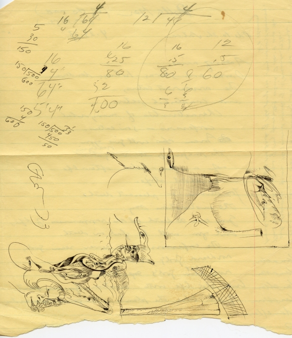 A page of sketches, and sundry notes torn from one of Danny Allen's notebooks. Dan had written a note to Eva Weiss on this slip of paper, and it turned up in a box of her belongings.