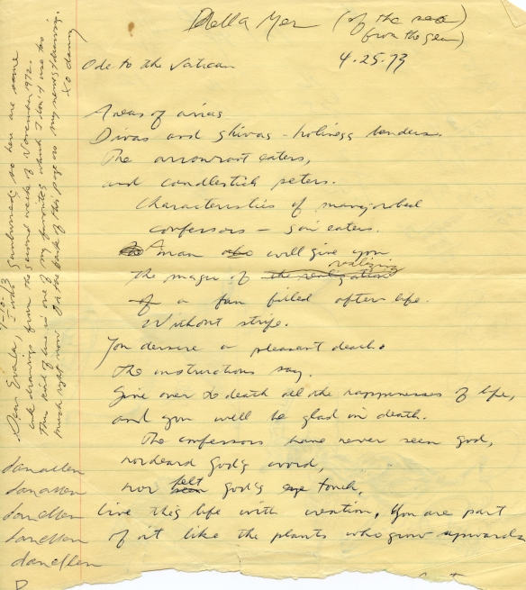 The flip side of a notebook page belonging to Eva Weiss. There are portions of a first draft of a poem which will appear in its entirety in the Poetic Addendum of Dan's writings at the end of the book.