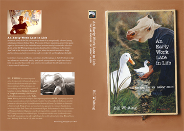 A printout of the book cover. With some minor tweaks, this is pretty much what the book will look like---front, back and spine.