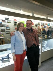 Sarah Gerin and Bill Whiting at the Rochester Memorial Art Gallery museum shop. Photo by Andrea Polanski.