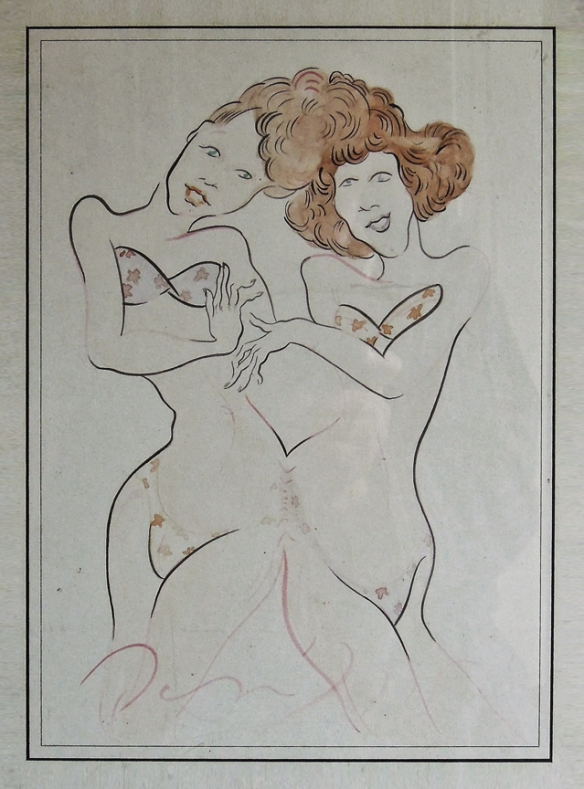 Dan Allen, watercolor of a pair of foxy Siamese twins. ca 1972 (I can't read the date). Collection of Adele Fico.