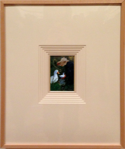 Danny Allen's tiny masterpiece, 'Sunny Ducks' reframed and rematted for the exhibit.