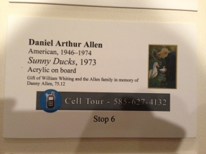 The exhibit label for Danny's painting.