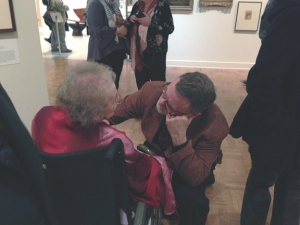 Bill Whiting talking with Danny Allen's 87 year old mother, Bernice Allen at the opening. Photo by Rachel Deaton.