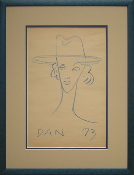 Danny Allen, blue crayone on newsprint. Perhaps a caricature of Marlene Dietrich. 1973. Private Collection.