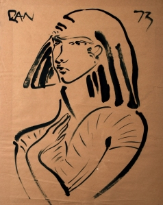 Danny Allen, India ink on newsprint, 1973.