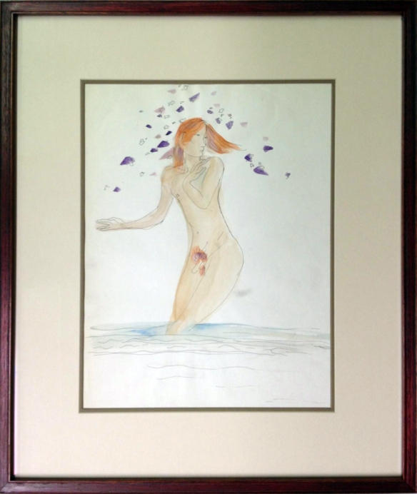 Danny Allen, watercolor of Bill Whiting as a naked hippie, ca. 1972.